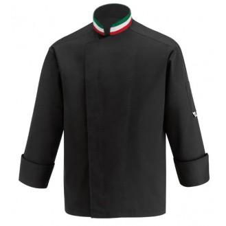 Giacca da cucina nera con colletto nei colori della bandiera italiana