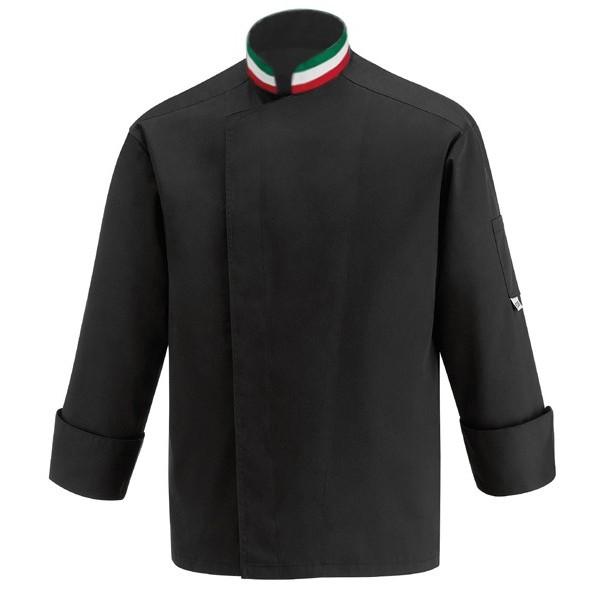 Veste de cuisine noire col italien, pour pizzaïolo en coupe droite, polycoton de Manelli