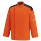 Veste de Cuisine Orange - First, bouton pression caché aisance des mouvements