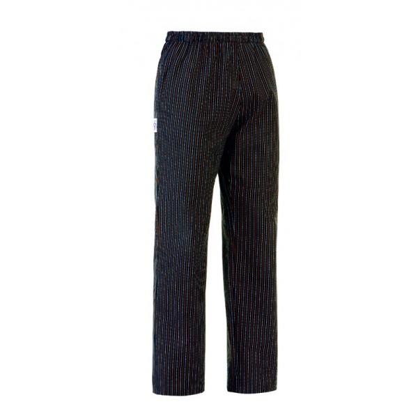 Pantalon de cuisine noir fines rayures blanches et marrons for Pantalon de cuisine noir
