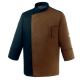 Veste de Cuisine Marron Noir Respirante, bicolore, manches longue, coupe droite