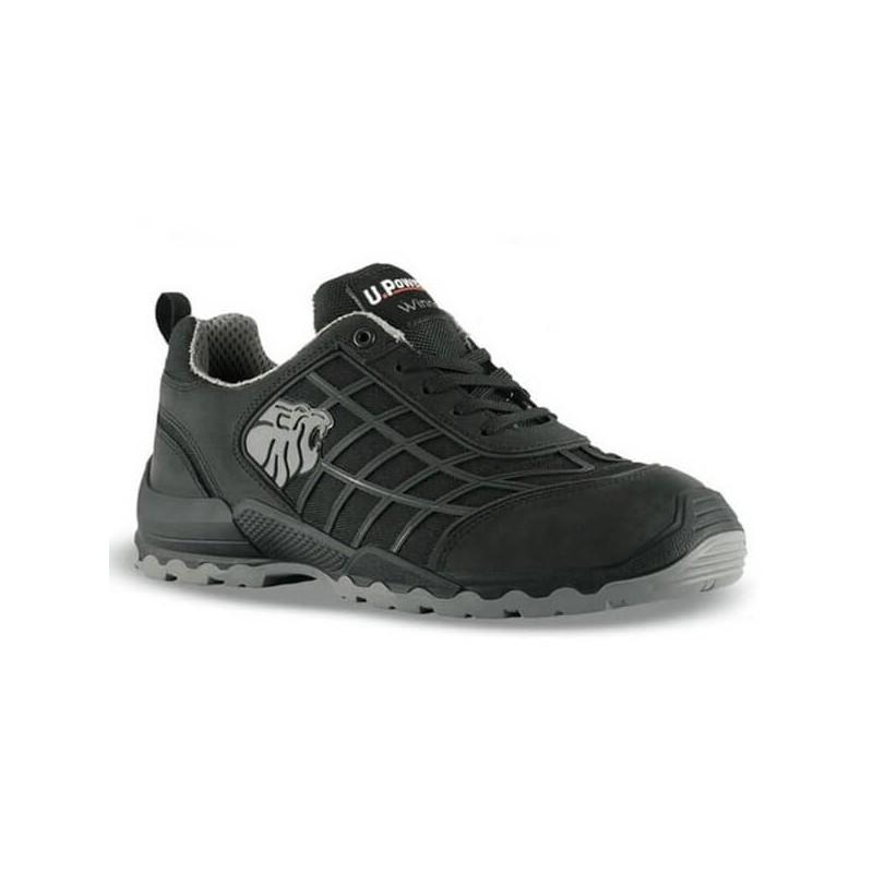 Chaussures de sécurité noir Upower normées S3 SRC. Semelle antidérapante, coque protectrice et grand confort de la chaussure.