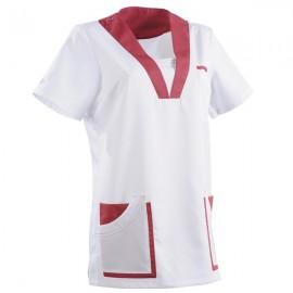 Tunique médicale 2MAR blanc & rose cassis