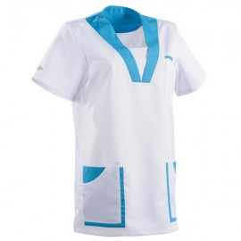 Tunique médicale 2MAR blanc & bleu ciel