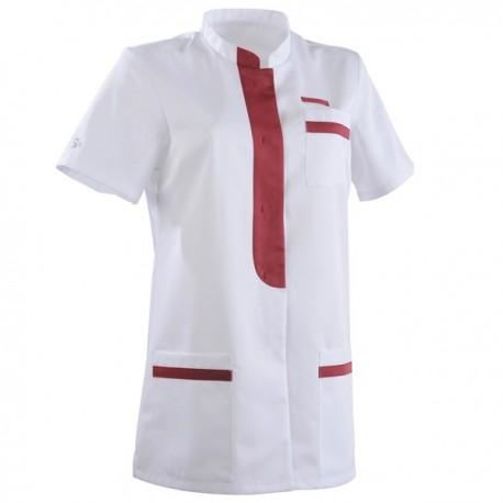 Tunique médicale 2KIM blanc & rose cassis