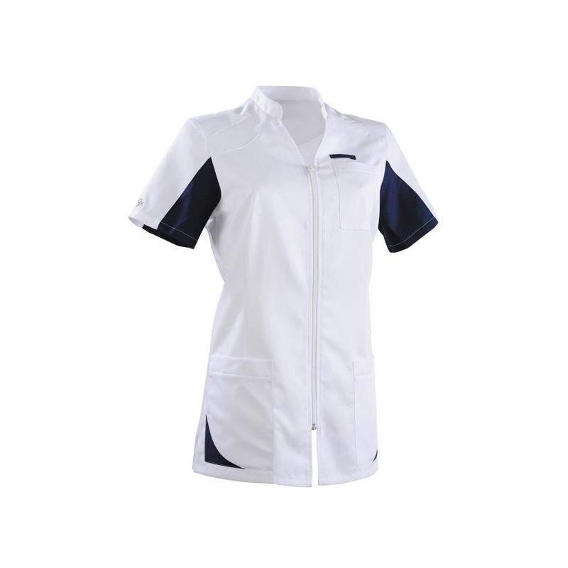 Blouse médicale femme 2SAN blanc & bleu marine manche courte promo