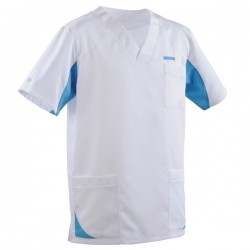 Tunique médicale homme 2SAH blanc & bleu ciel
