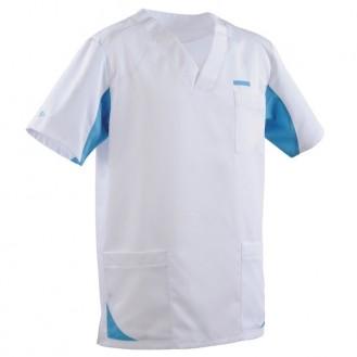 Tunica medica uomo 2SAH bianco e blu cielo