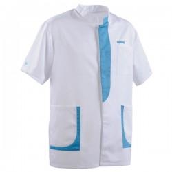 Blouse médicale homme 2LEE blanc & bleu ciel manches courtes promotion confortable