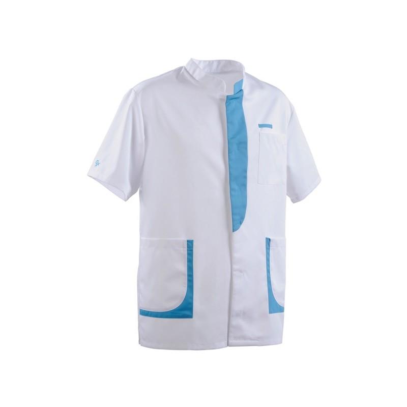 Blusa per personale sanitario da uomo 2LEE bianca e azzurra