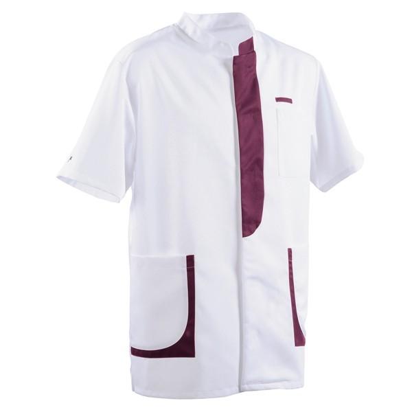 Blouse médicale homme 2LEE blanc & prune manche courte homme pas cher
