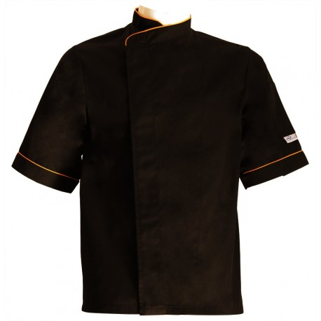 Black Chef Jacket Orange Pipping