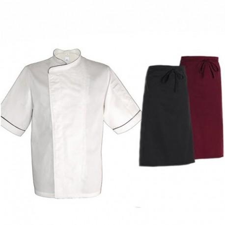 Pacchetto per cuoco con bordino nero a maniche corte