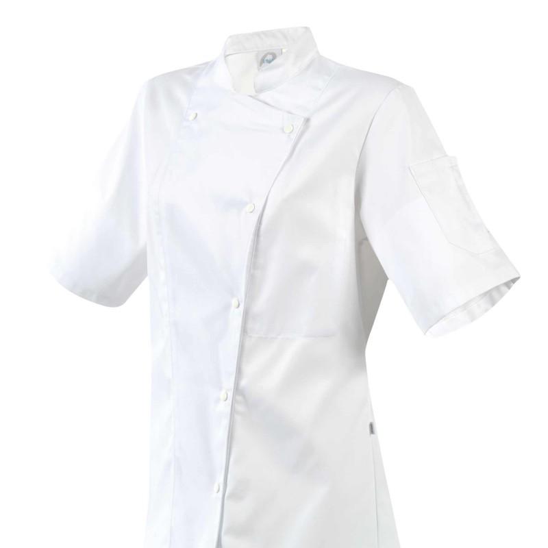 Giacca da cucina da donna bianca con abbottonatura asimmetrica
