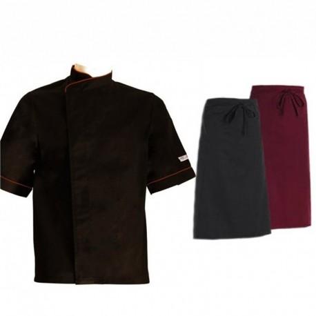 Pack cuisinier liseré bordeaux manches courtes