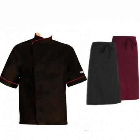 Pack cuisinier liseré rouge manches courtes