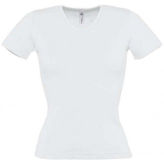 Tee shirt blanc femme col V - medical - esthetique