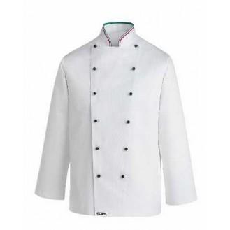 Veste de Cuisine Col Italien, blanche, double boutonnage noir