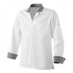 Veste de cuisine uno, col chemise, manche retroussable. couleur blanche
