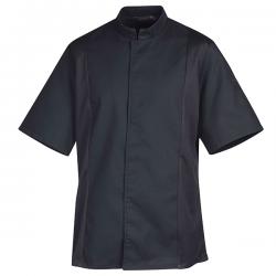Veste de cuisine noire nid d'abeille, coupe de veste de cuisinier sobre, excellente qualité