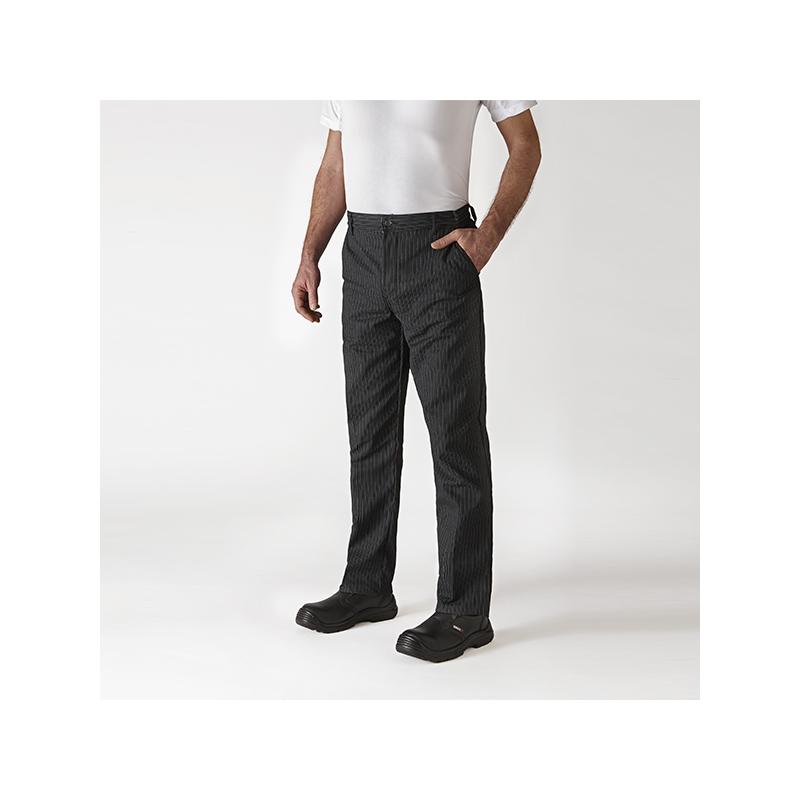 Pantalon de cuisine pince noir ray robur - Pantalon de cuisine robur ...