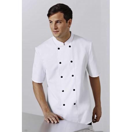 Veste de Cuisine Bragard Blanche Surpiquée, boutons noirs, boutons à attacher qualité supérieure