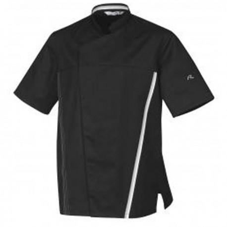 Veste de cuisine noire TRED ROBUR, coupe originale, liseré blanc, polycoton, manches courtes