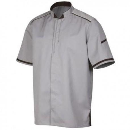 Veste de cuisine grise parement chocolat Robur, manches courtes, bicolore, idéal pour cuisinier