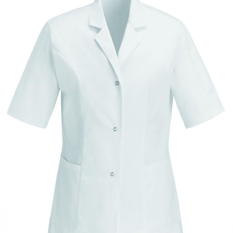 Casacca medica bianca in 100% cotone a maniche corte
