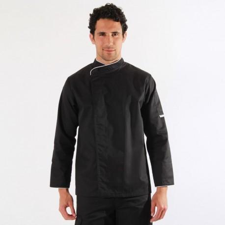 Veste de cuisine noire liseré blanc - ML manches longues
