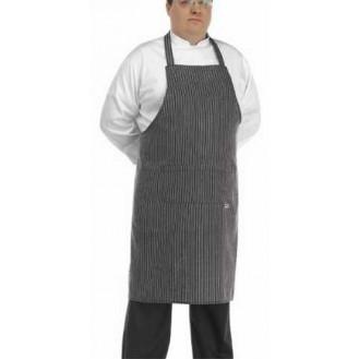 Tablier de Cuisine Grande Taille Rayé Gris