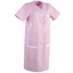 Blouse medicale longue rose manches courtes promotion confortable
