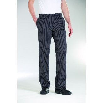 Pantaloni da cucina neri a righe bianche Bragard
