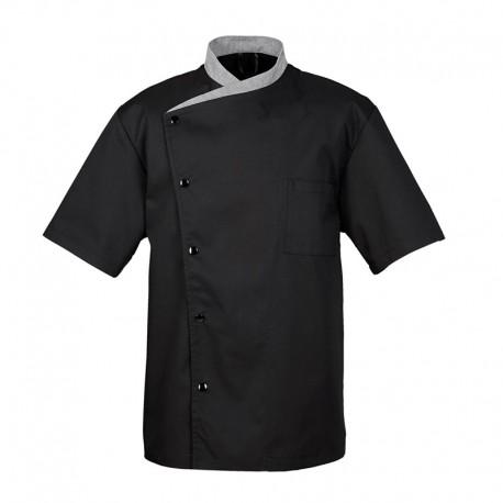 Veste de cuisine julioso, manches courte, noire liseré gris