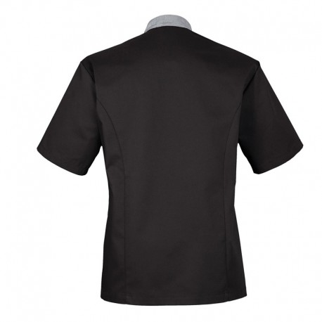Veste de cuisine noire et grise, coupe slim, parfait pour l'été
