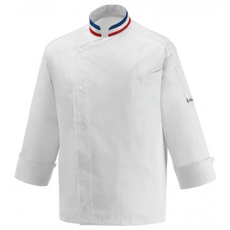 Veste de Cuisine Blanche Tricolore, manche longue pour professionnel et particulier