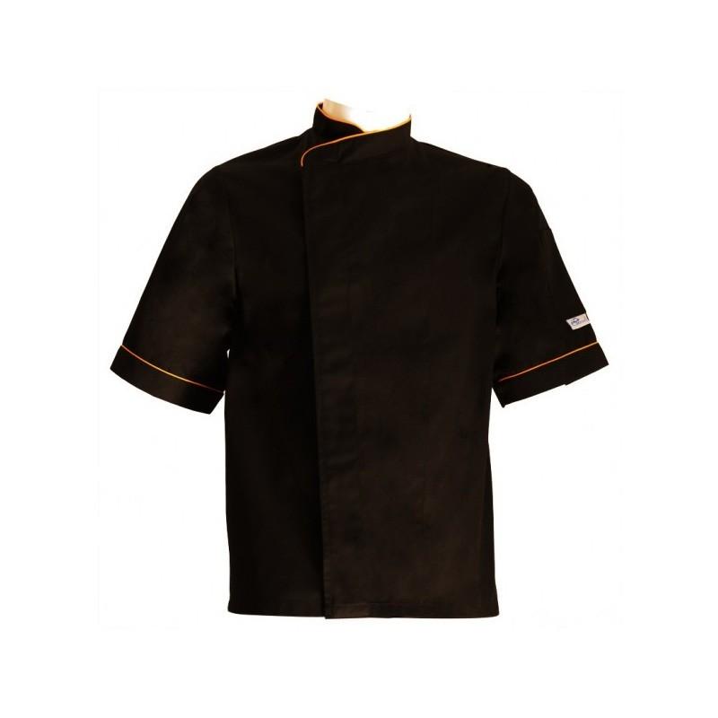 Veste de cuisine grande taille lisere orange - Broderie veste de cuisine ...