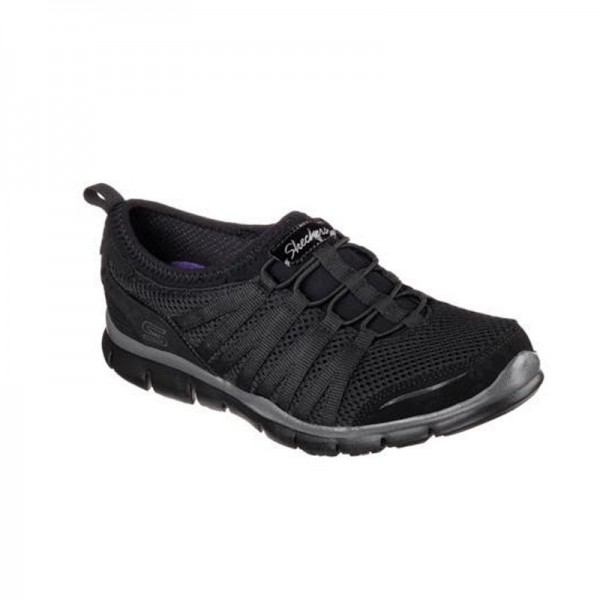Chaussure de travail noire femme Gratis - love it - Skechers. Baskets de sécurité facile à enfiler.