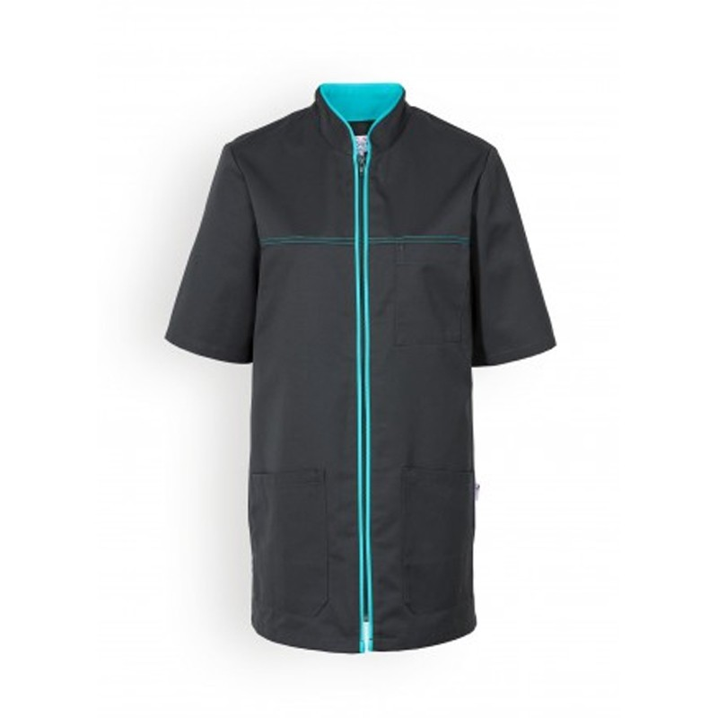 Blouse noire lisere bleu manches courtes confort promo pas cher