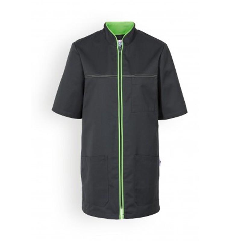Blouse medicale noire lisere vert manche courte confortable promotion pas cher