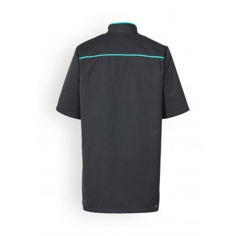Blouse medicale noire lisere bleue manches courtes confort promotions pas cher