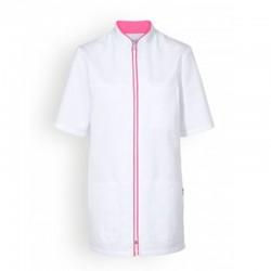 Blouse medicale blanche liseré rose femme manches courtes