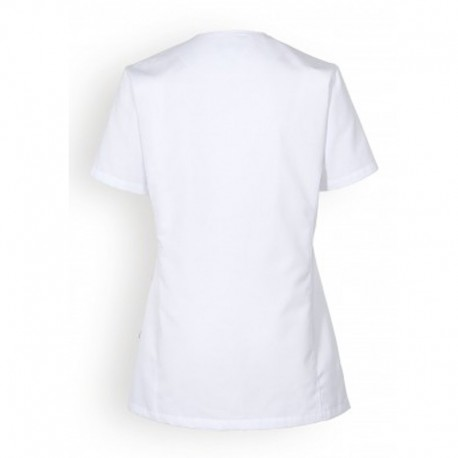 dos blouse medicale blanche promotion manches courtes femmes