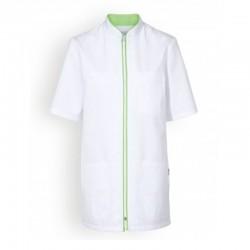 tunique medicale blanche et verte femme manches courtes