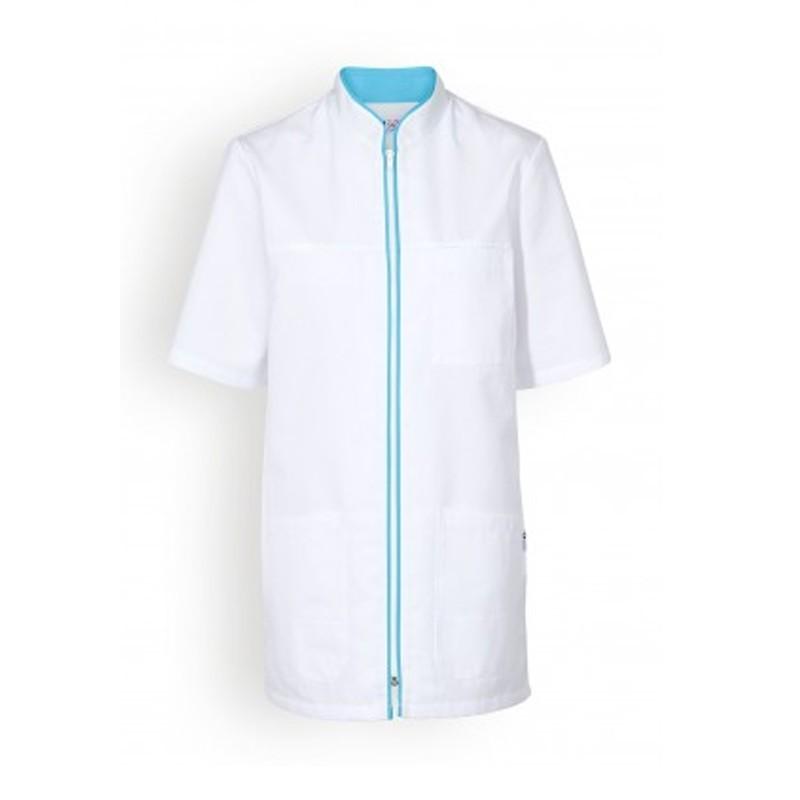 Blouse medicale blanche et bleu femmes manche courte