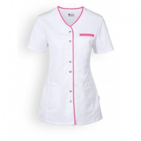 Blouse medicale blanche et rose poche femme manche courte