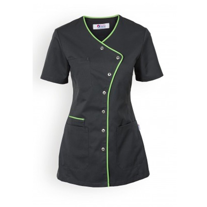 Blouse medicale lisere long vert femme manche courte promotion confortable  pas cher