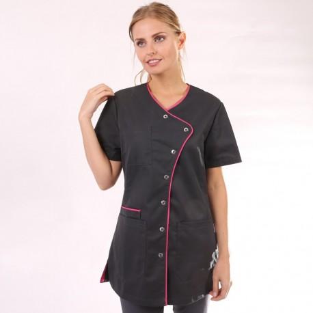 Blouse médicale noire liseré long - Clinic Dress