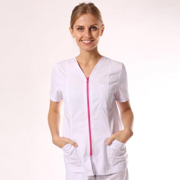 Blouse medicale blanche et rose manches courtes promo confortable pas cher