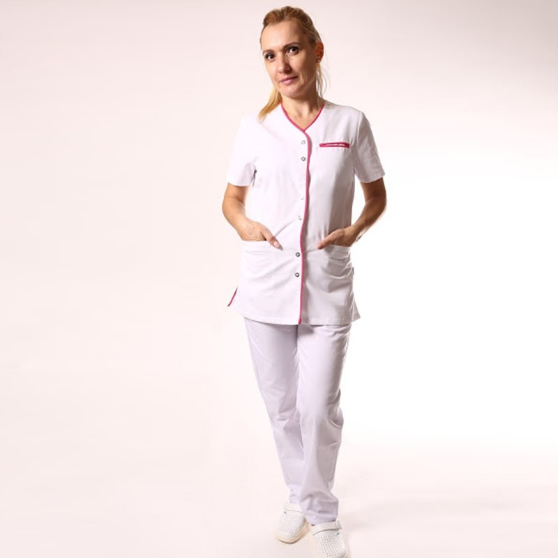 Blouse médicale blanche liseré long - Clinic Dress pas cher confortable